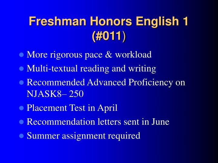 Freshman Honors English 1 (#011