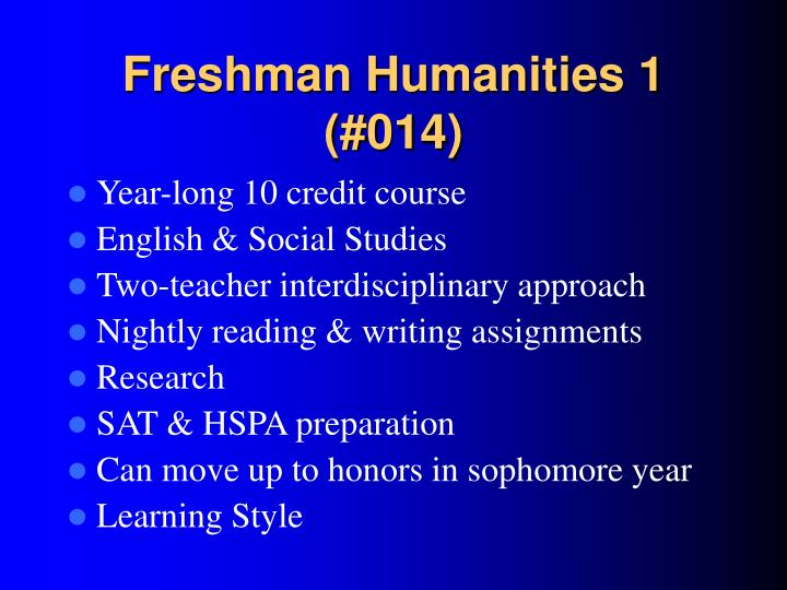 Freshman Humanities 1 (#014)