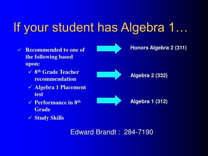 If your student has Algebra 1…