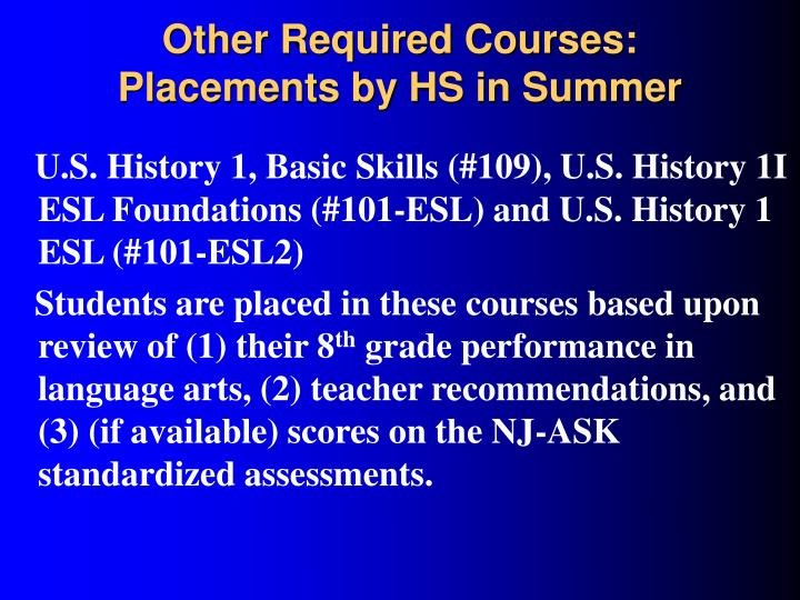 Other Required Courses: