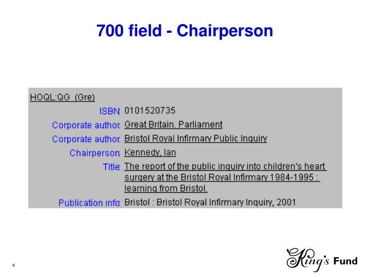 700 field - Chairperson
