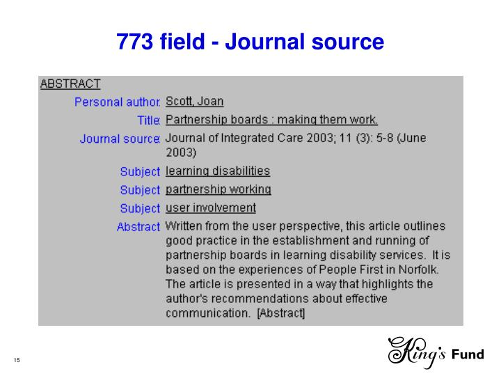 773 field - Journal source