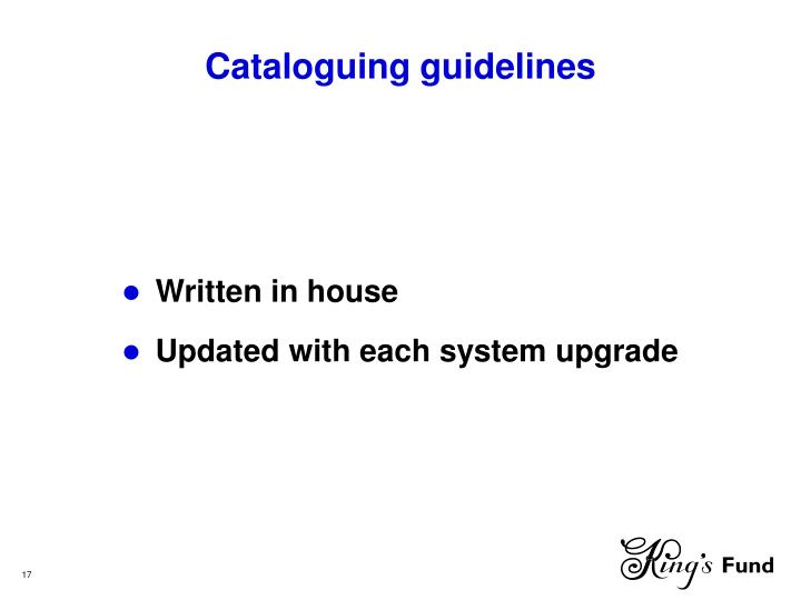 Cataloguing guidelines