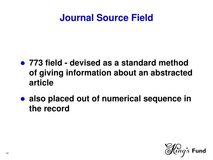 Journal Source Field