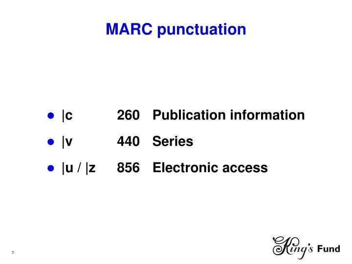 MARC punctuation