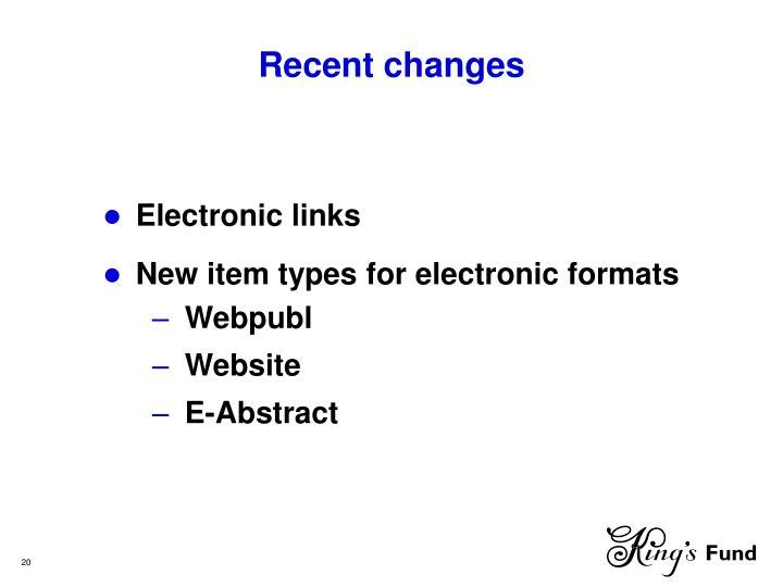 Recent changes