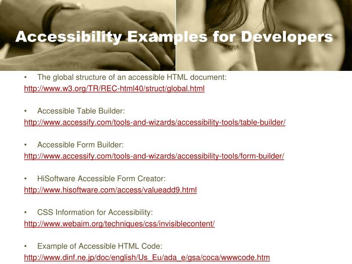 Accessibility Examples for Developers
