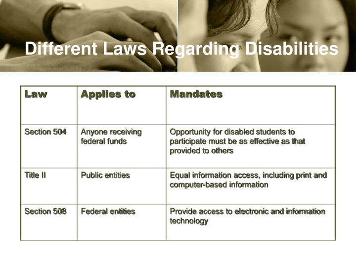 Different Laws Regarding Disabilities