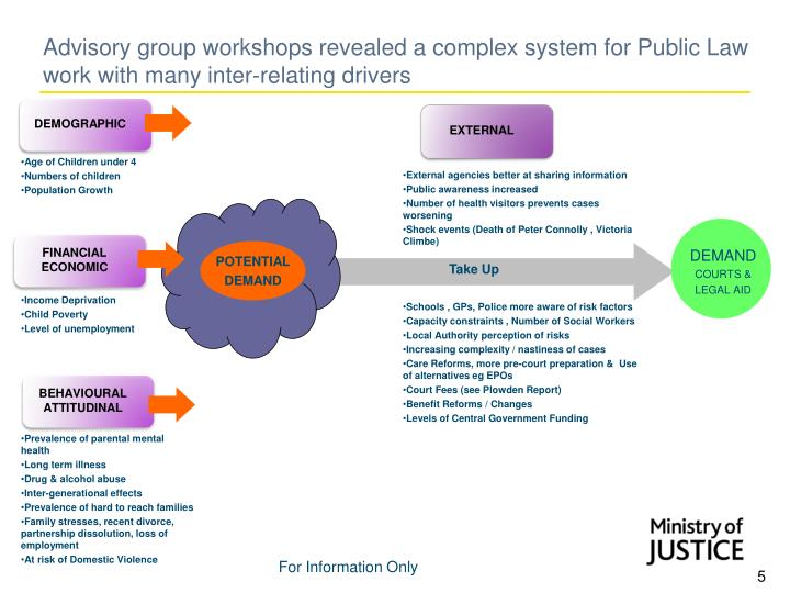 Advisory group workshops revealed a complex system for Public Law work with many inter-relating drivers