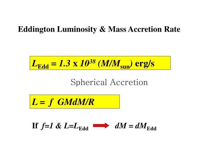 Eddington Luminosity & Mass Accretion Rate