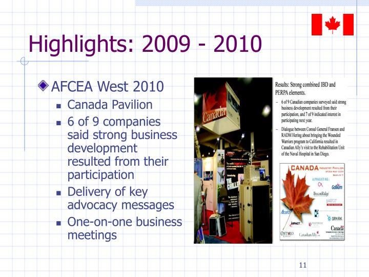 Highlights: 2009 - 2010