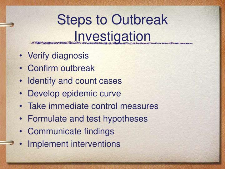 Steps to Outbreak Investigation