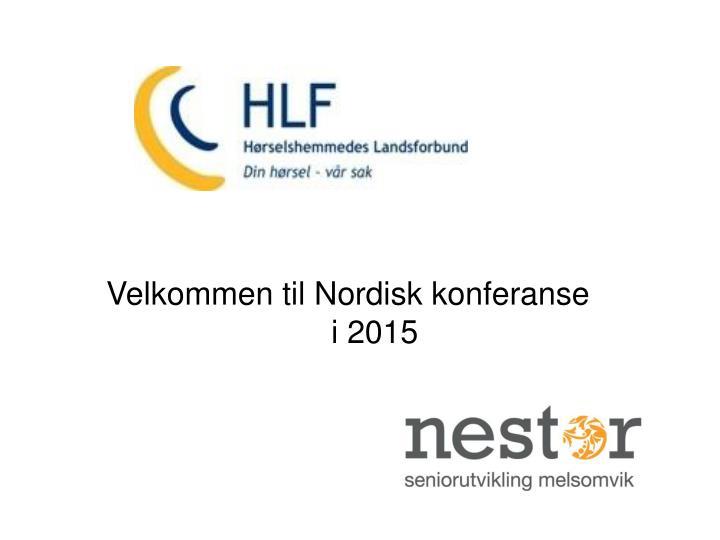 Velkommen til Nordisk konferanse