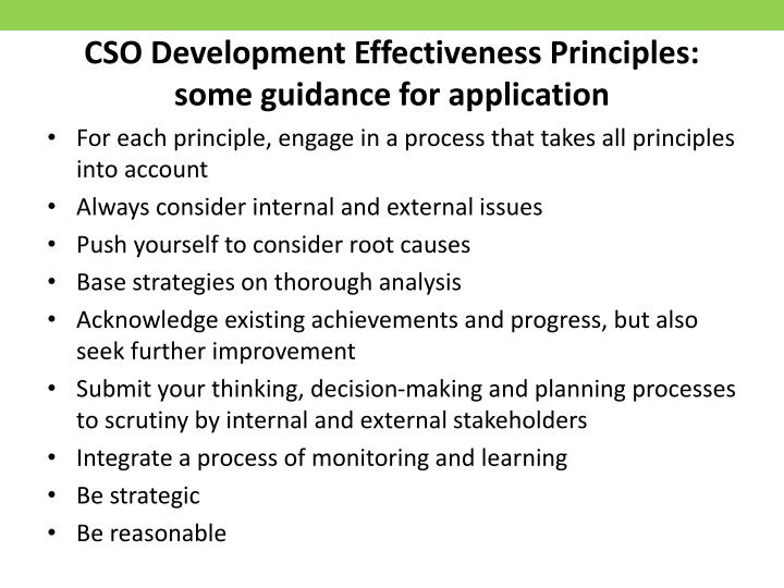 CSO Development Effectiveness Principles: some guidance for application