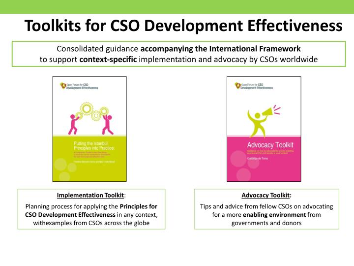 Toolkits for CSO Development Effectiveness