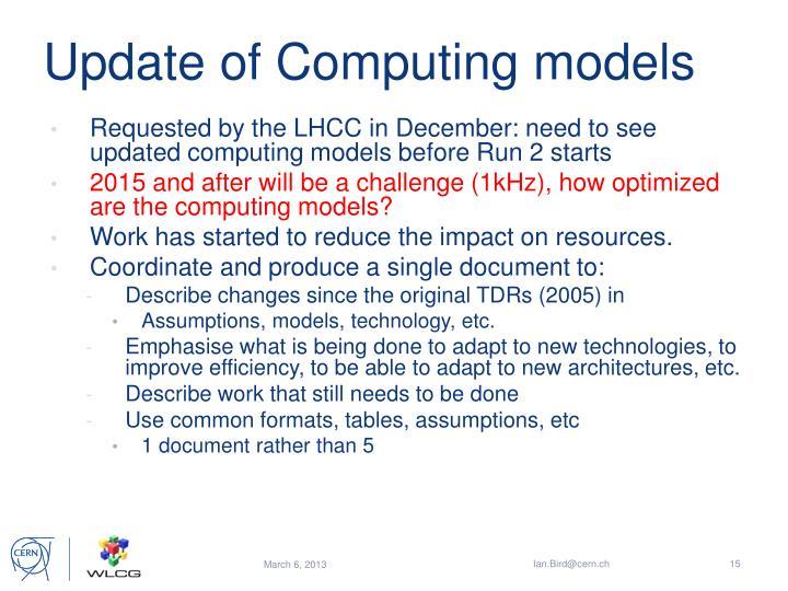 Update of Computing models
