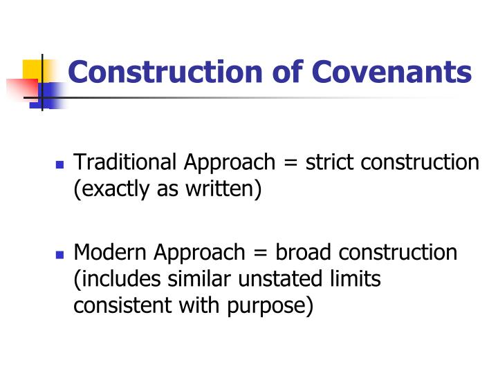 Construction of Covenants