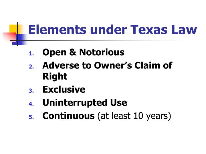 Elements under Texas Law
