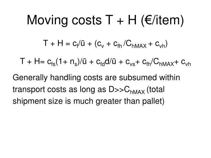 Moving costs T + H (€/item)