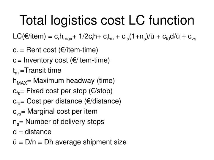 Total logistics cost LC function