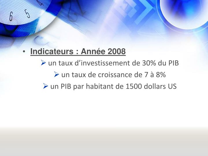 Indicateurs : Anne 2008