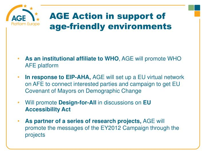 AGE Action in support of age-friendly environments