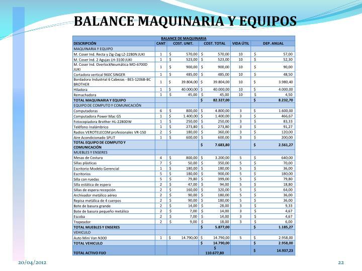 BALANCE MAQUINARIA Y EQUIPOS