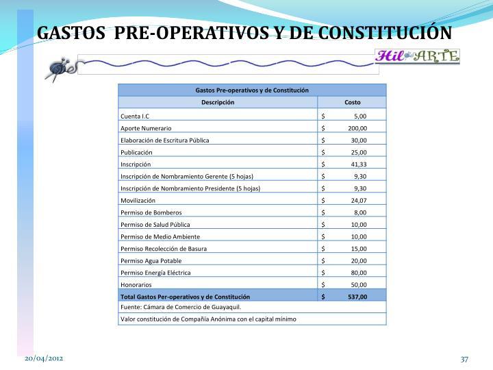 GASTOS  PRE-OPERATIVOS Y DE CONSTITUCIÓN