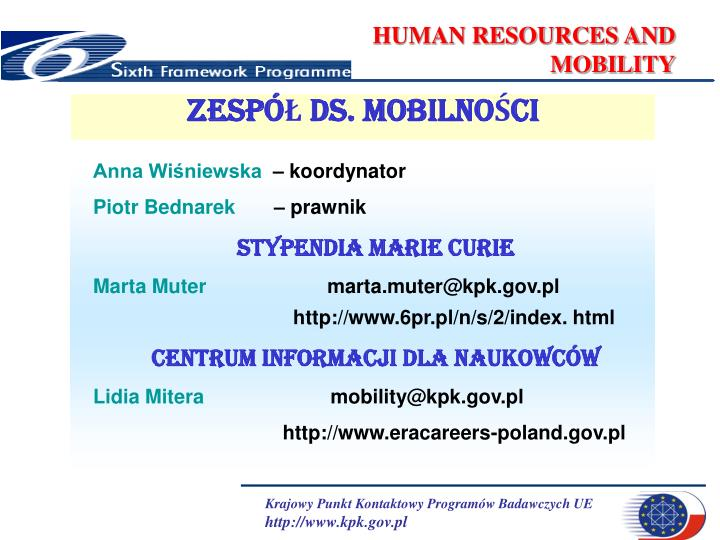 Human resources and mobility1