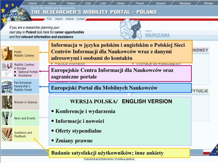 Informacja w języku polskim i angielskim o Polskiej Sieci Centrów Informacji dla Naukowców wraz z danymi adresowymi i osobami do kontaktu