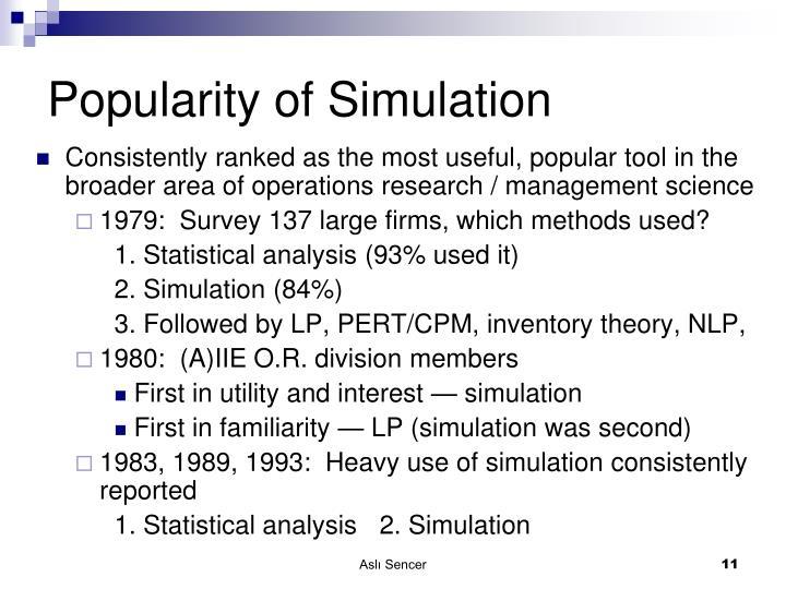 Popularity of Simulation