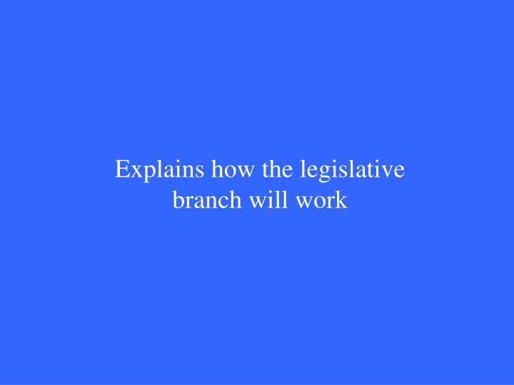 Explains how the legislative branch will work