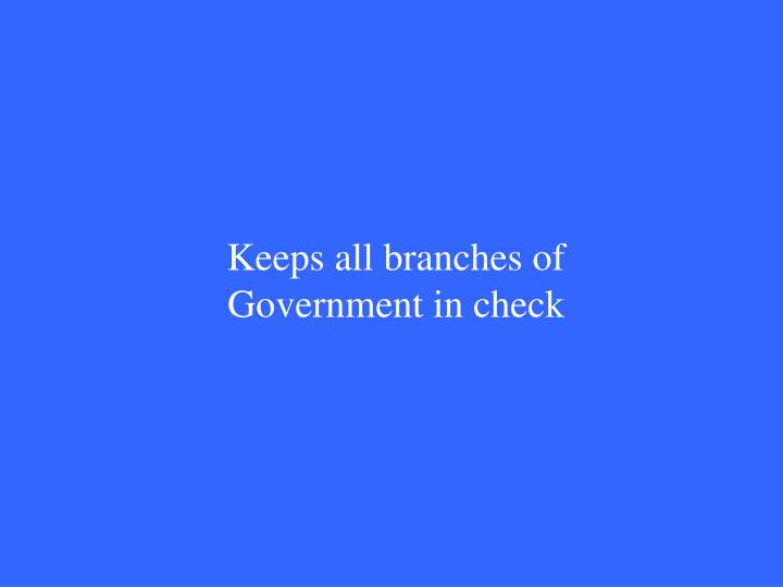 Keeps all branches of Government in check