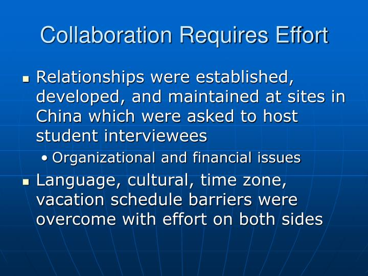 Collaboration Requires Effort