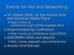 events for info and networking