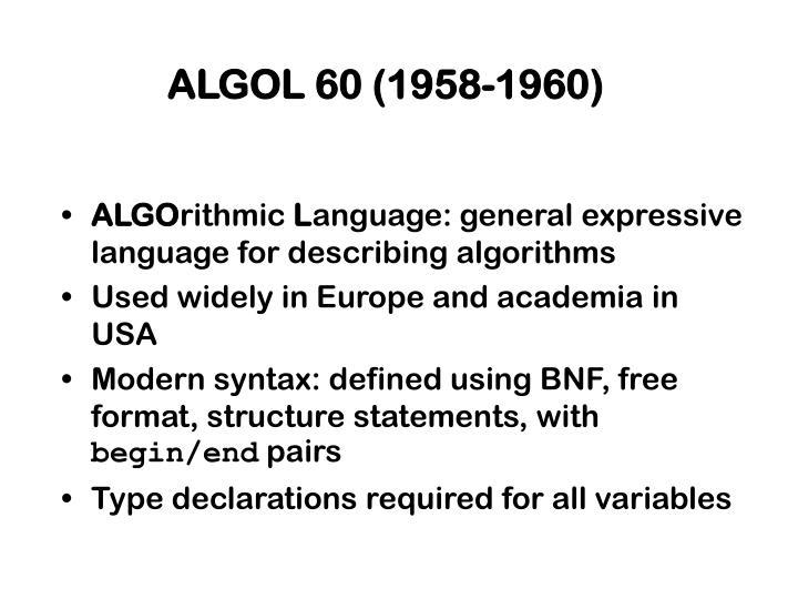 ALGOL 60 (1958-1960)