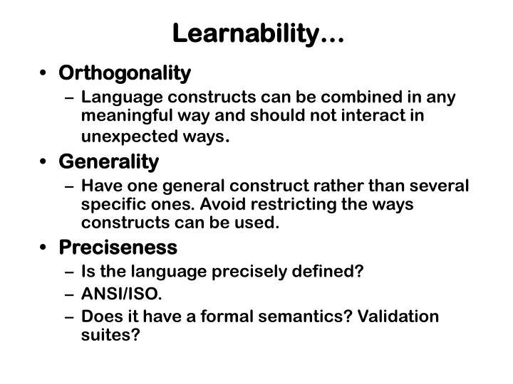 Learnability…