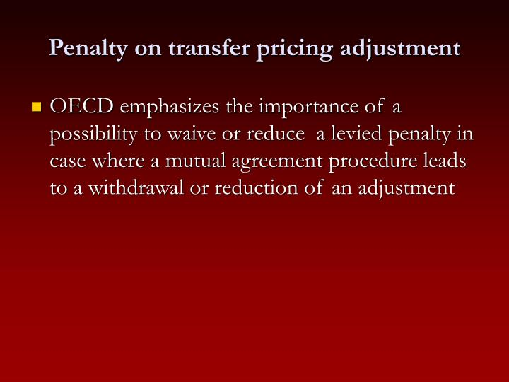 Penalty on transfer pricing adjustment