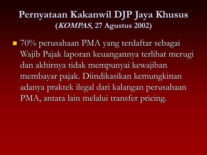 Pernyataan Kakanwil DJP Jaya Khusus