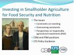investing in smallholder agriculture for food security and nutrition