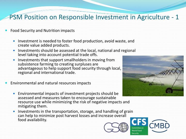 PSM Position on Responsible Investment in Agriculture - 1