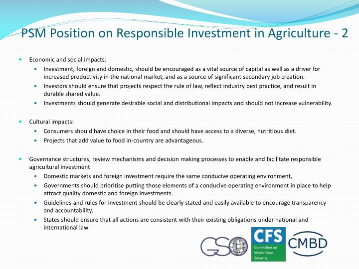 PSM Position on Responsible Investment in Agriculture - 2