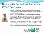 responsible agriculture investment cfs40 outcomes