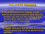 holiness d esired