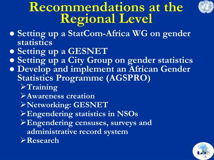 Recommendations at the Regional Level