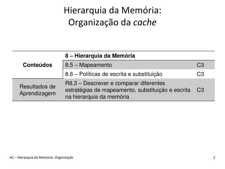 Hierarquia da Memória:
