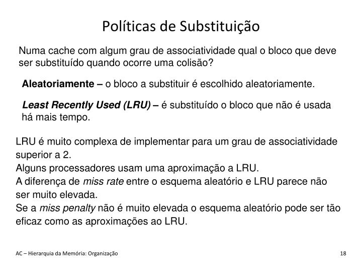 Políticas de Substituição