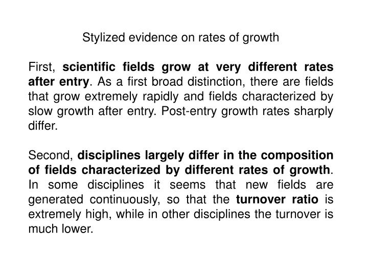 Stylized evidence on rates of growth