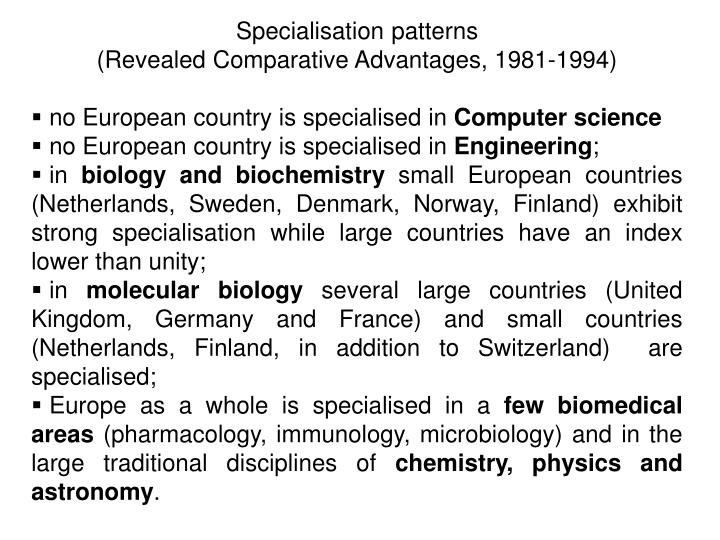 Specialisation patterns