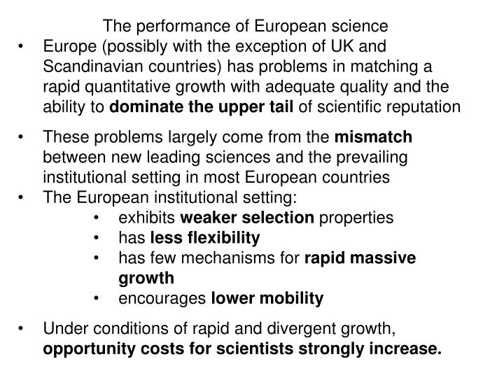 The performance of European science